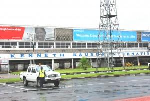 Kenneth Kaunda International Airport in Lusaka.